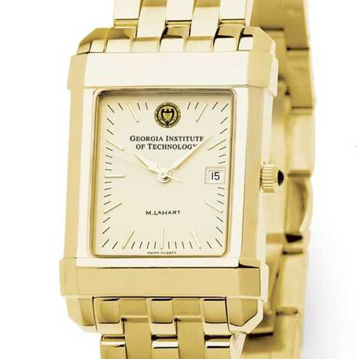 615789020844: Georgia Tech Men's Gold Quad Watch with Bracelet