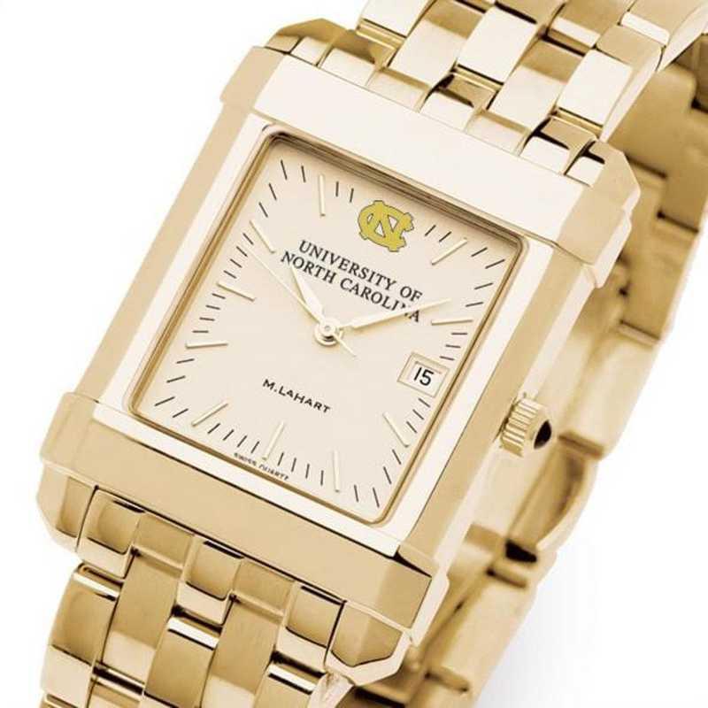 615789153818: UNC Men's Gold Quad Watch with Bracelet