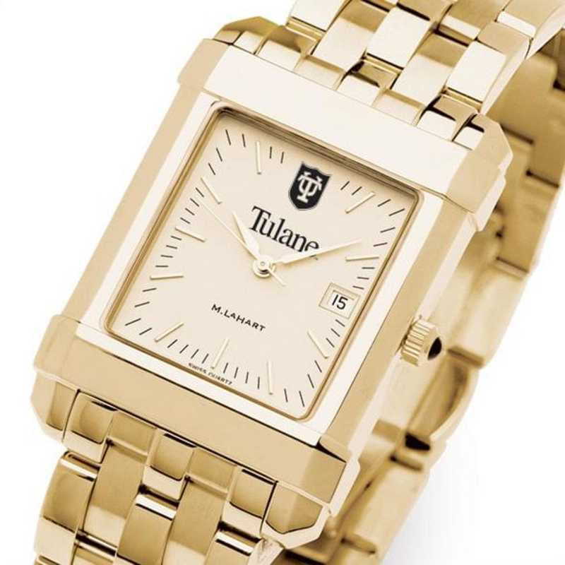 615789157564: Tulane Men's Gold Quad W/ Bracelet