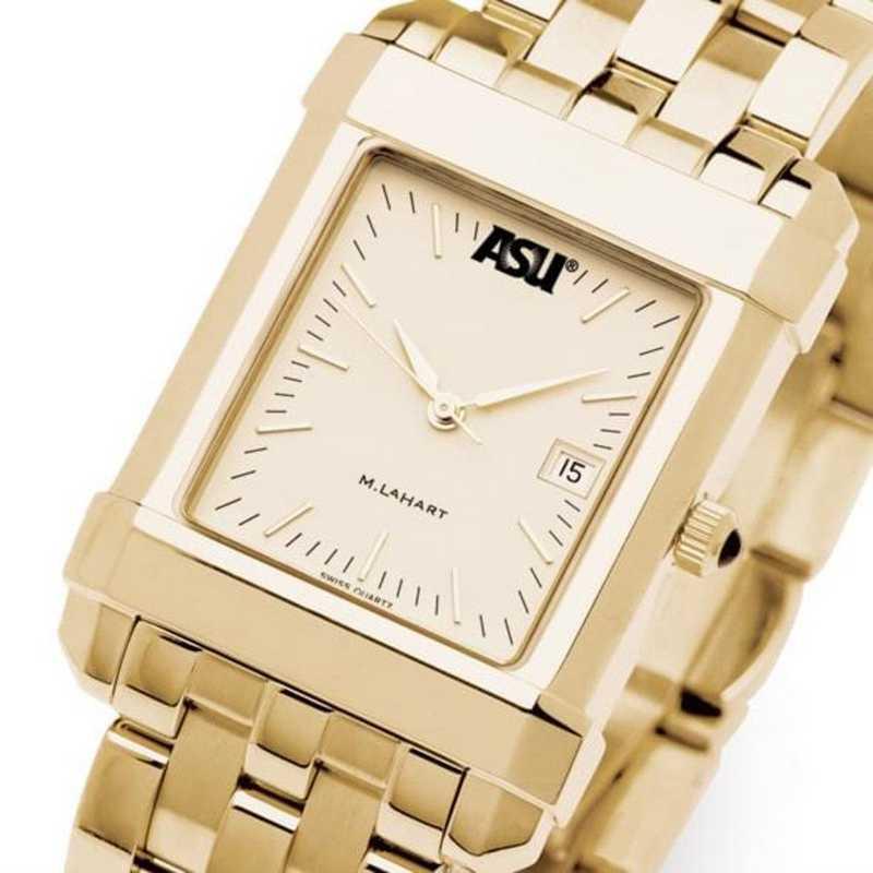 615789176367: ASU Men's Gold Quad Watch with Bracelet