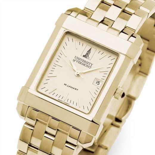 615789265337: UVM Men's Gold Quad Watch with Bracelet