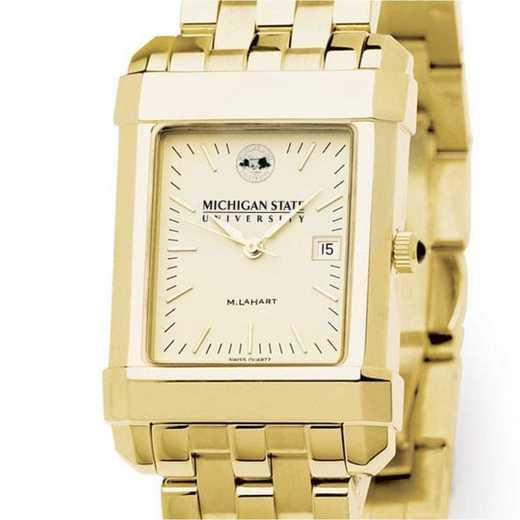 615789485261: Michigan ST Men's Gold Quad W/ Bracelet