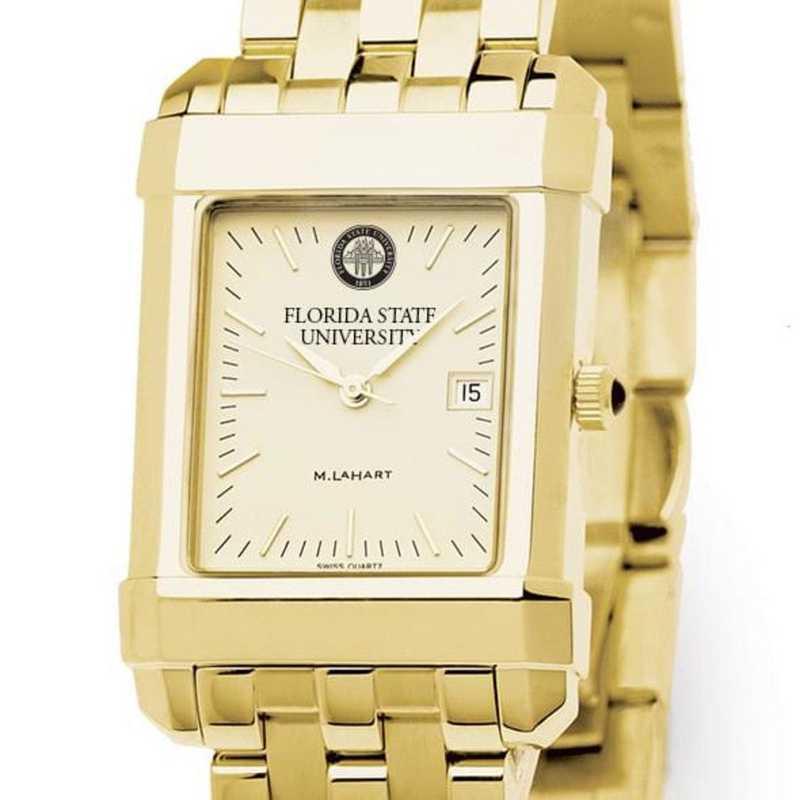 615789492122: Florida ST Men's Gold Quad W/ Bracelet