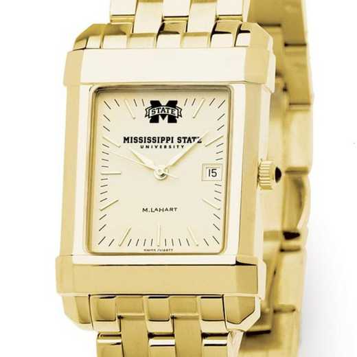 615789589914: Mississippi ST Men's Gold Quad W/ Bracelet