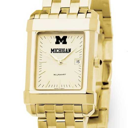 615789595984: Michigan Men's Gold Quad Watch with Bracelet