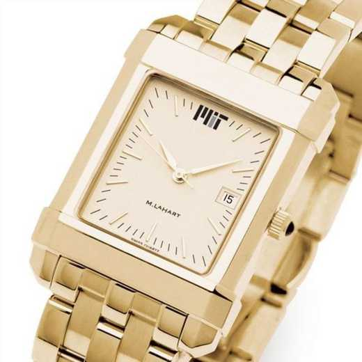 615789699286: MIT Men's Gold Quad Watch with Bracelet