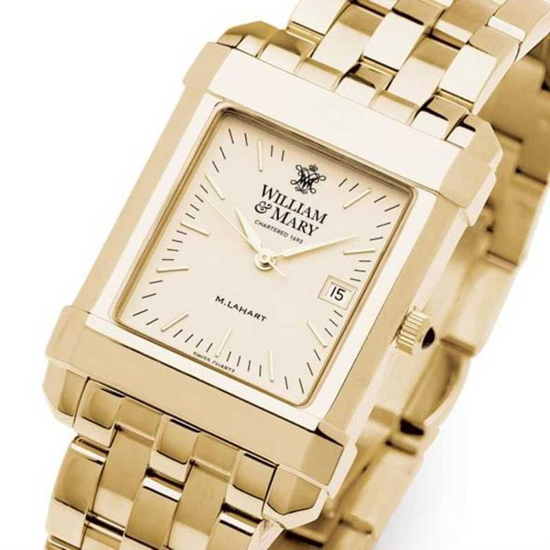 615789711032: William & Mary Men's Gold Quad Watch with Bracelet