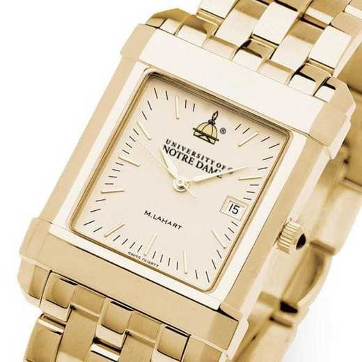 615789733843: Notre Dame Men's Gold Quad Watch with Bracelet