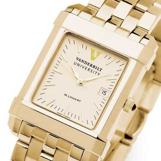 615789739043: Vanderbilt Men's Gold Quad Watch with Bracelet