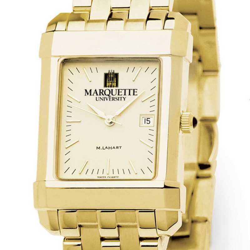615789889212: Marquette Men's Gold Quad Watch with Bracelet