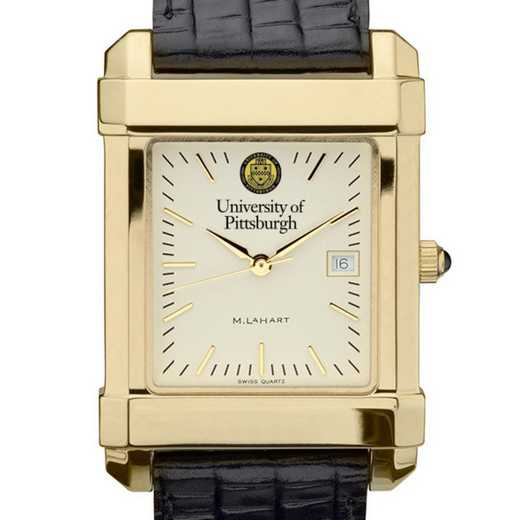 615789045151: Pittsburgh Men's Gold Quad Watch W/ Leather Strap