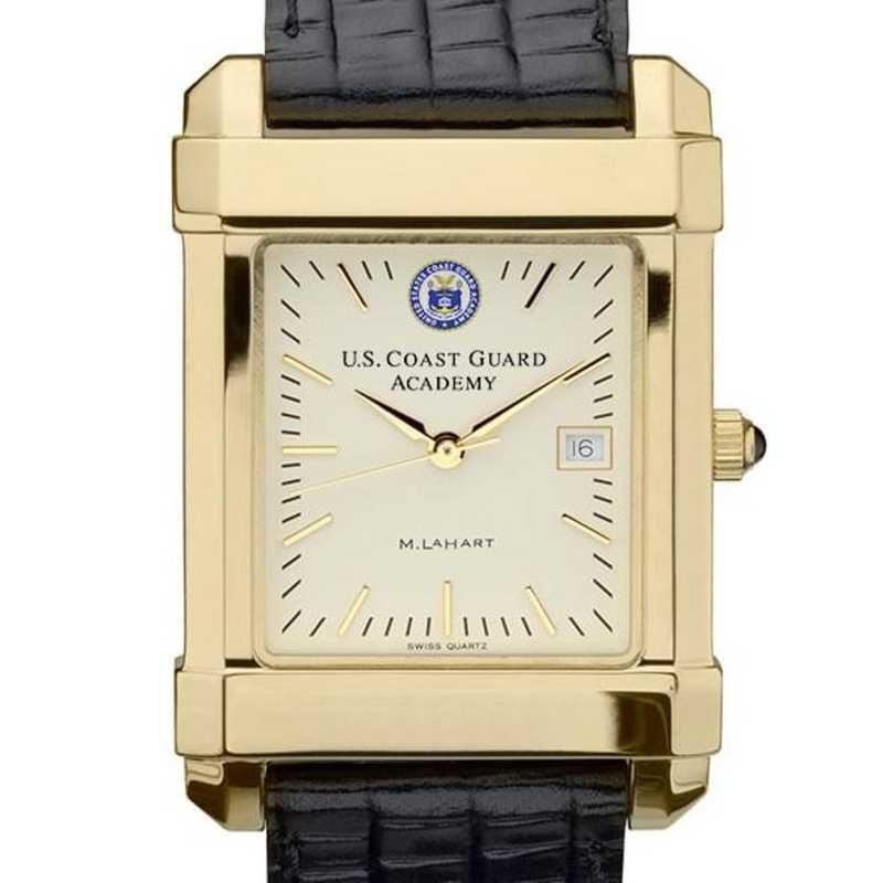 615789048503: USCGA Men's Gold Quad Watch W/ Leather Strap
