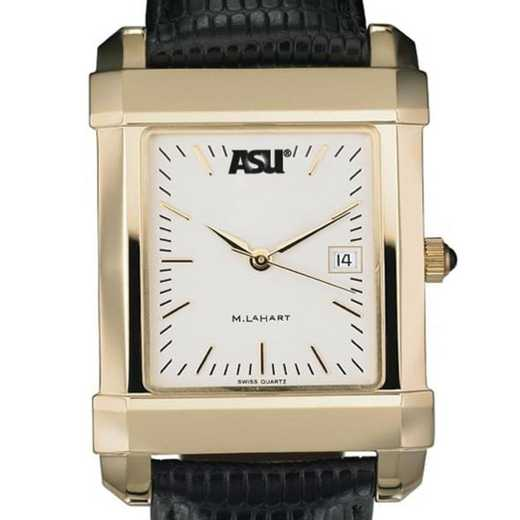 615789114161: ASU Men's Gold Quad Watch W/ Leather Strap