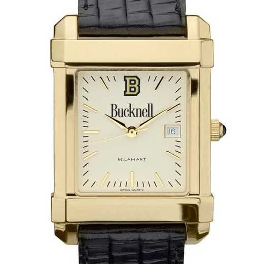 615789116646: Bucknell Men's Gold Quad w/ Leather Strap