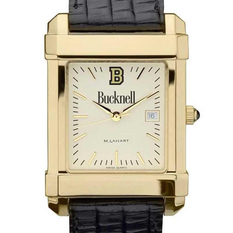 615789116646: Bucknell Men's Gold Quad w/ Leather Strap