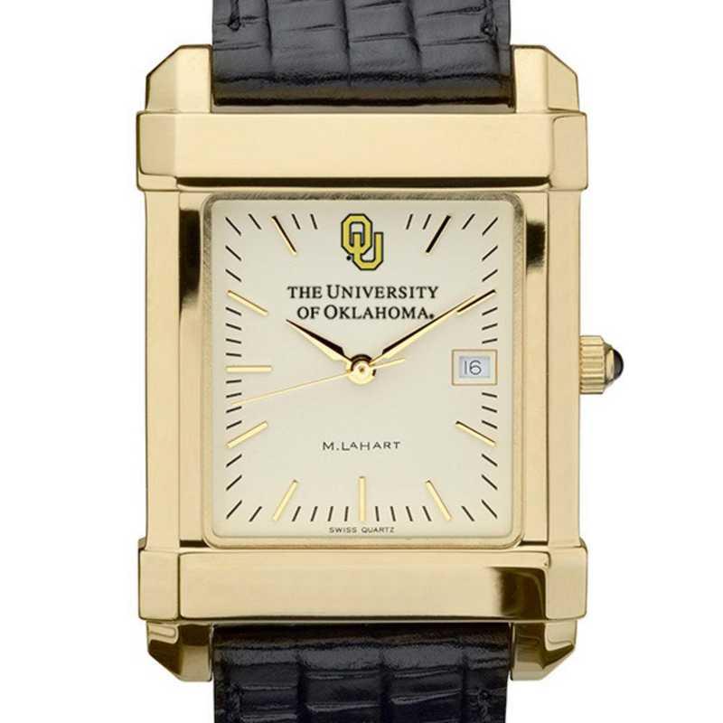 615789128120: Oklahoma Men's Gold Quad Watch W/ Leather Strap
