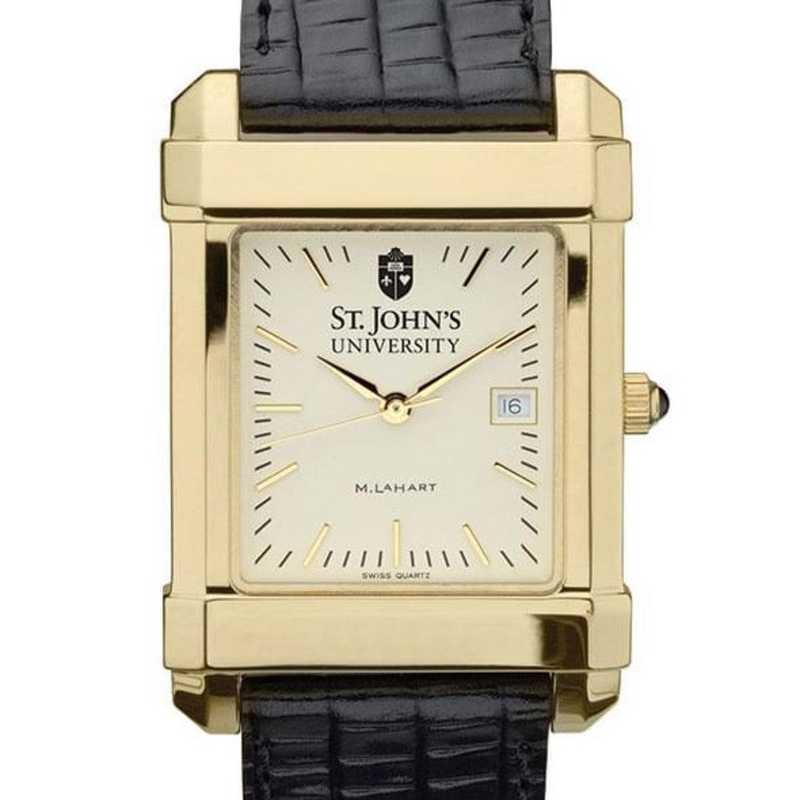 615789129905: St. John's Men's Gold Quad w/ Leather Strap