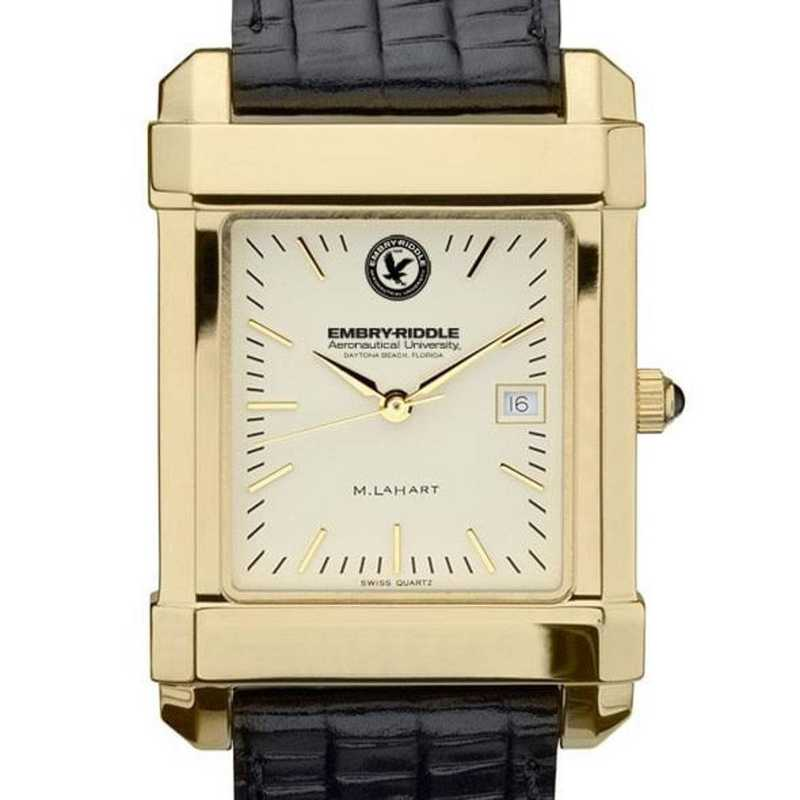 615789149699: Embry-Riddle Men's Gold Quad w/ Leather Strap