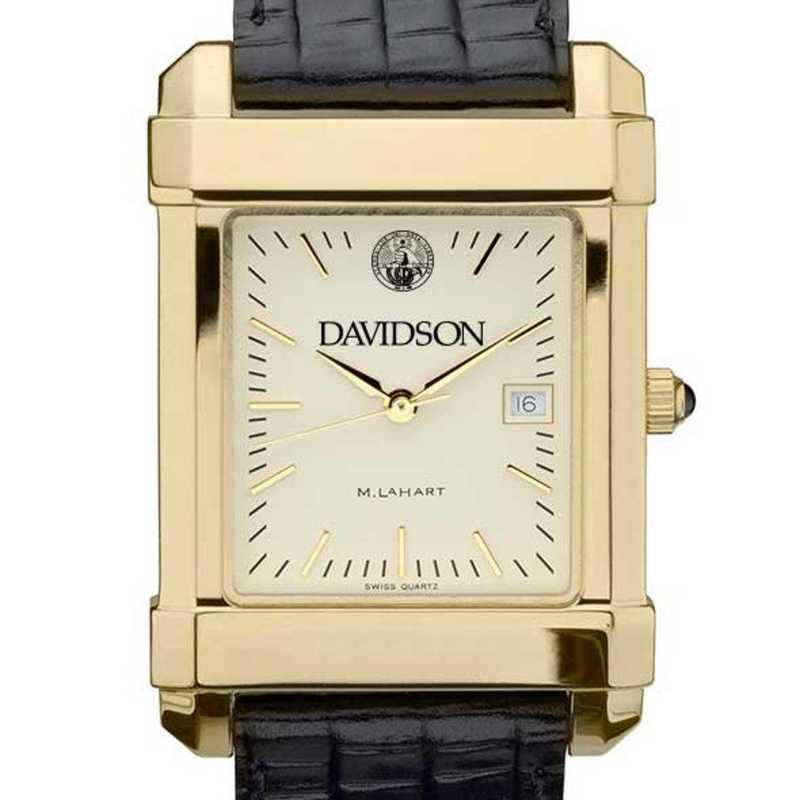 615789228783: Davidson College Men's Gold Quad w/ Leather Strap
