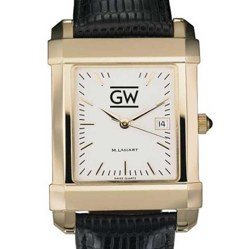 615789265689: George Washington Men's Gold Quad w/ Leather Strap