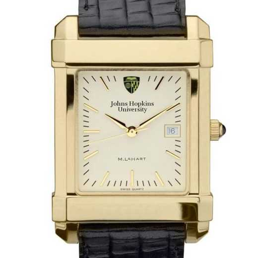 615789274162: Johns Hopkins Men's Gold Quad Watch W/ Leather Strap