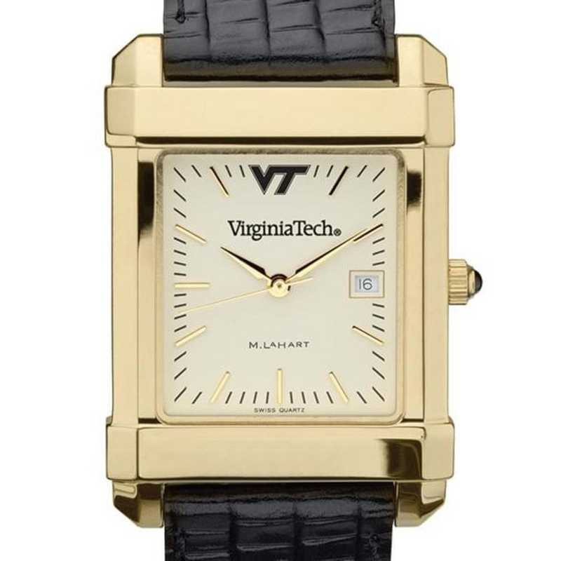 615789280903: Virgina Tech Men's Gold Quad Watch W/ Leather Strap