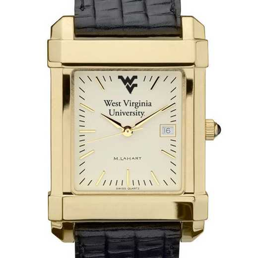 615789292234: West Virginia univ Men's Gold Quad w/ Leather Strap