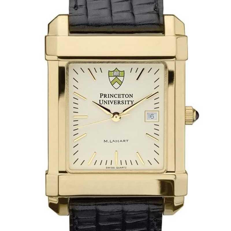 615789368694: Princeton Men's Gold Quad Watch W/ Leather Strap