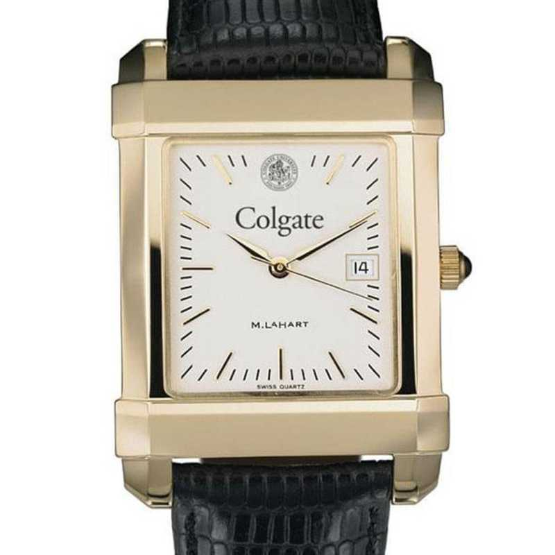 615789381136: Colgate Men's Gold Quad w/ Leather Strap