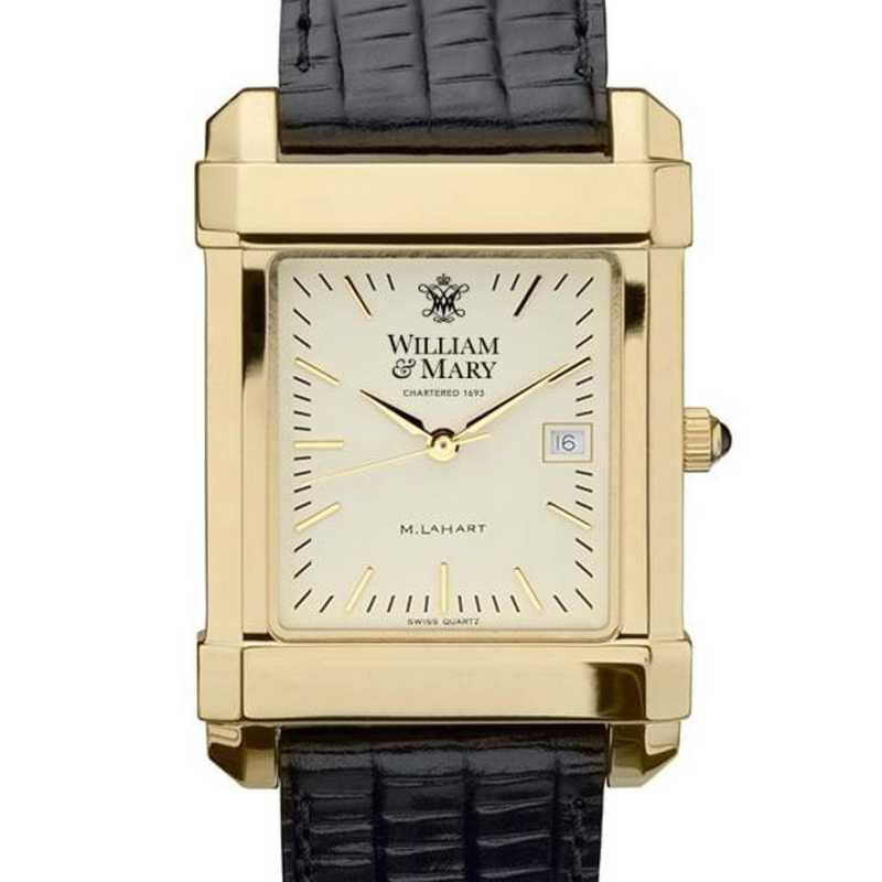 615789411512: William & Mary Men's Gold Quad Watch W/ Leather Strap