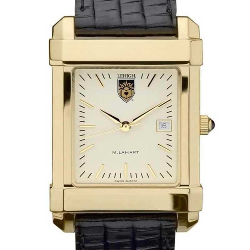 615789411536: Lehigh Men's Gold Quad Watch W/ Leather Strap