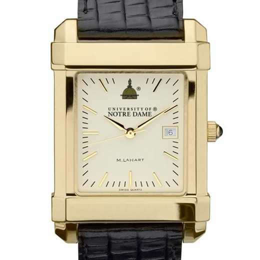 615789441892: Notre Dame Men's Gold Quad Watch W/ Leather Strap