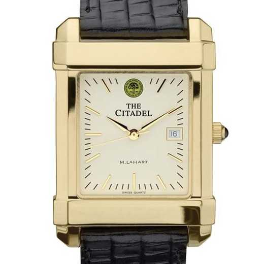 615789518587: Citadel Men's Gold Quad Watch W/ Leather Strap