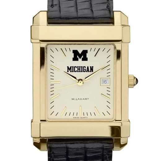 615789603818: Michigan Men's Gold Quad Watch W/ Leather Strap
