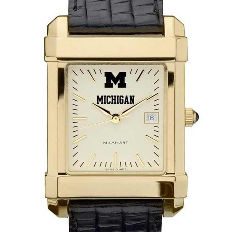 615789603818: Michigan Men's Gold Quad Watch W/ Leather Strap