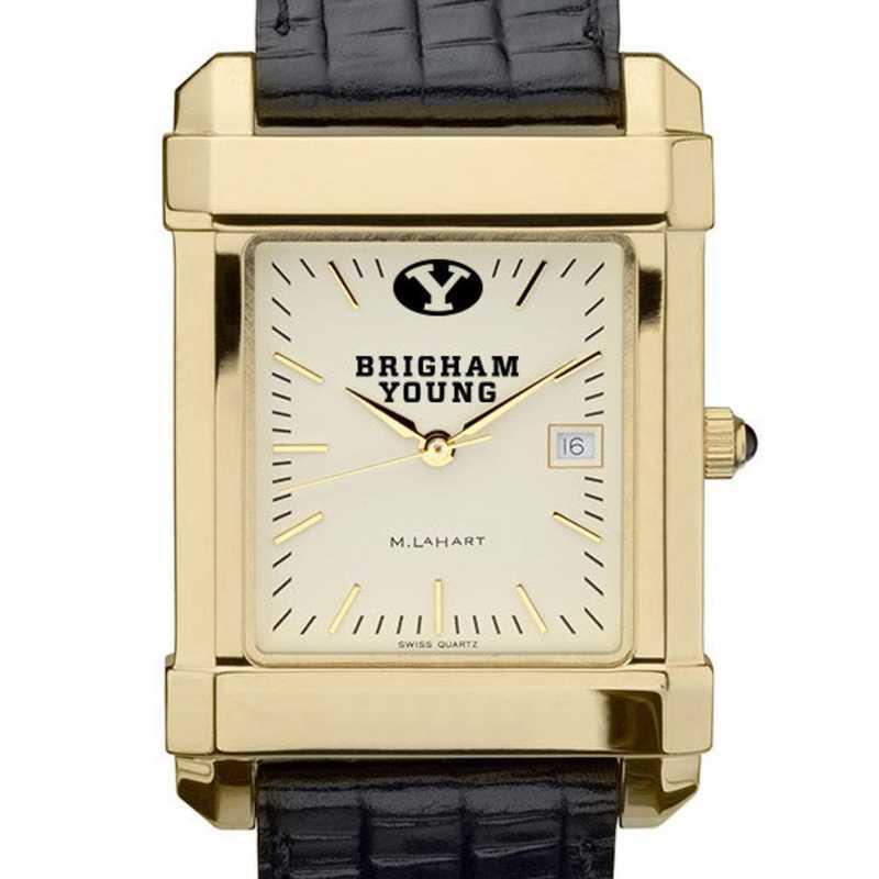 615789730019: Brigham Young univ Men's Gold Quad w/ Leather Strap