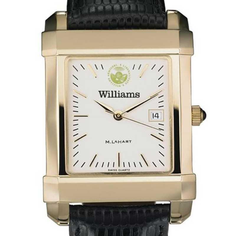 615789749974: Williams College Men's Gold Quad w/ Leather Strap