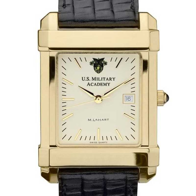 615789788546: West Point Men's Gold Quad Watch W/ Leather Strap