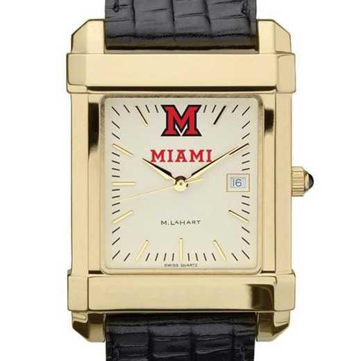615789835103: Miami univ Men's Gold Quad w/ Leather Strap