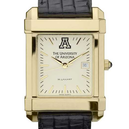 615789836957: univ of Arizona Men's Gold Quad w/ Leather Strap