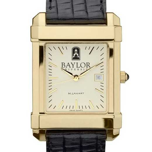 615789904199: Baylor Men's Gold Quad w/ Leather Strap
