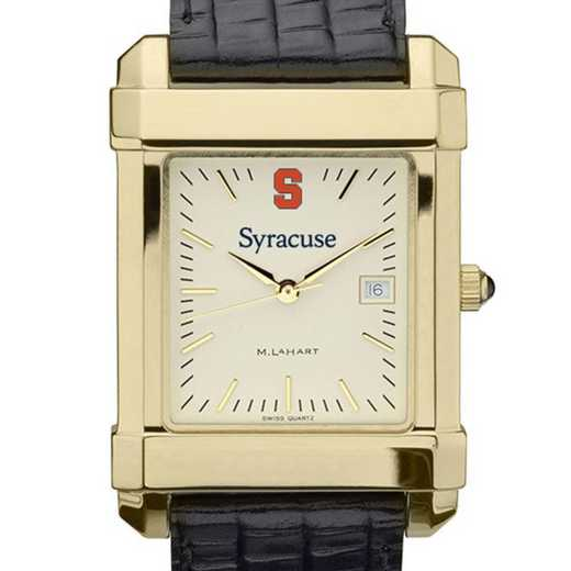 615789904229: Syracuse univ Men's Gold Quad w/ Leather Strap
