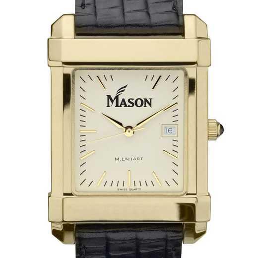 615789967477: George Mason univ Men's Gold Quad w/ Leather Strap