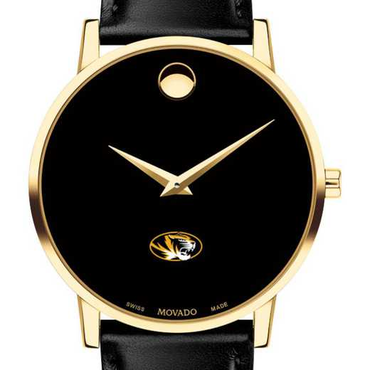 615789026587: U of Missouri Men's Movado Gold Museum Classic Leather
