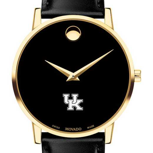 615789034827: Uni of Kentucky Men's Movado Gold Museum Classic Leather