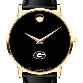615789124214: Univ of Georgia Men's Movado Gold Museum Classic Leather