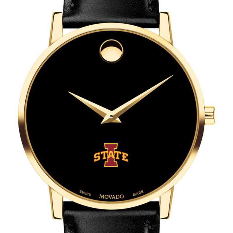 615789150435: Iowa State Univ Men's Movado Gold Museum Classic Leather