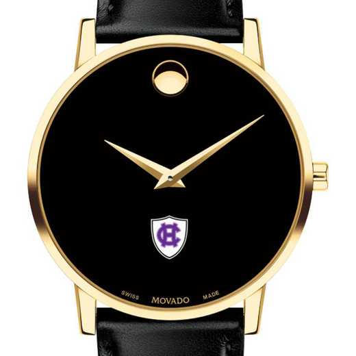 615789172420: Holy Cross Men's Movado Gold Museum Classic Leather