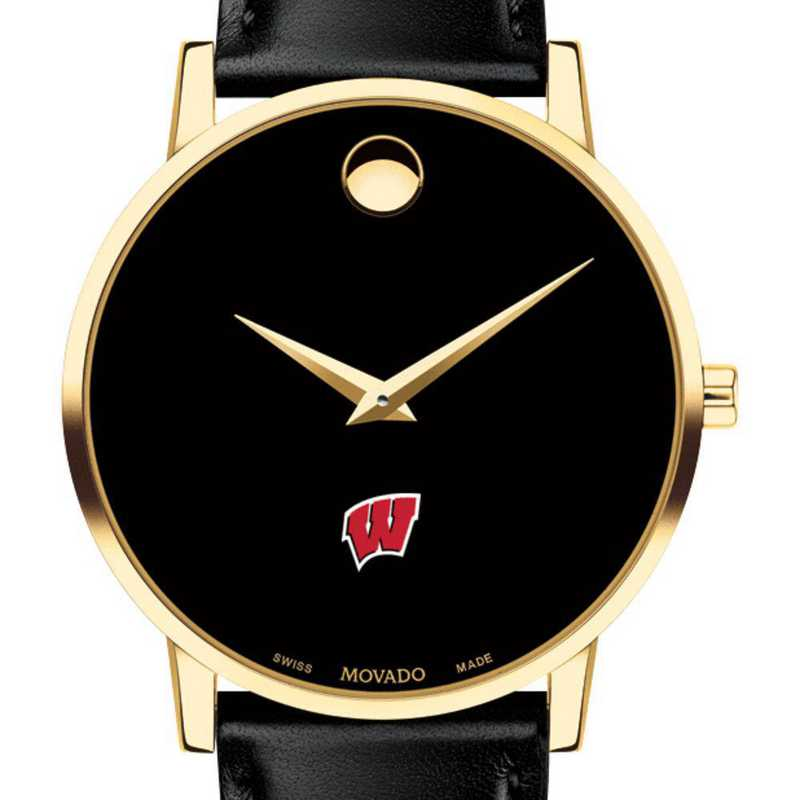 615789179597: Univ of Wisconsin Men's Movado Gold Museum Classic Leather
