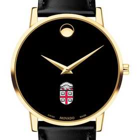 615789224969: Brown Univ Men's Movado Gold Museum Classic Leather